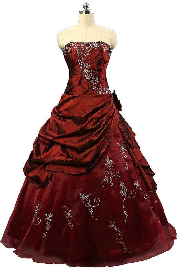 Snowskite Girls Strapless Embroidery Taffeta Princess Quinceanera Dress 4 Burgundy