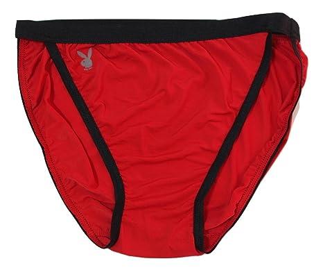 11c4f4ea15 Playboy 3 Pairs Mens Underwear Sexy Lycra Bikini Thong Low Rise Nylon Red  Brief (S