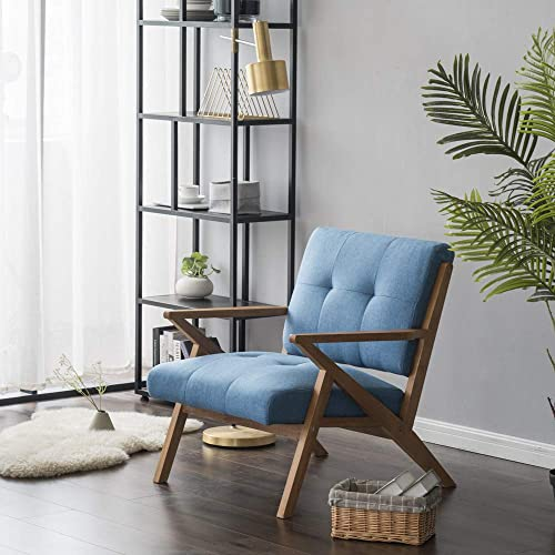 JOYBASE Mid-Century Accent Chair, Lounge Chair, Solid Wood Z-Frame Retro Style, Arm Chair for Living Room, Blue