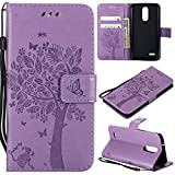 LG Aristo 2 Plus/Aristo 2/Zone 4/Tribute Dynasty/Fortune 2/Risio 3/Rebel 3 LTE/K8 Plus Flip Case,LG K8 2018 PU Leather Wallet Embossed Floral Tree Cat Case Kickstand Case Card Holder Light Purple