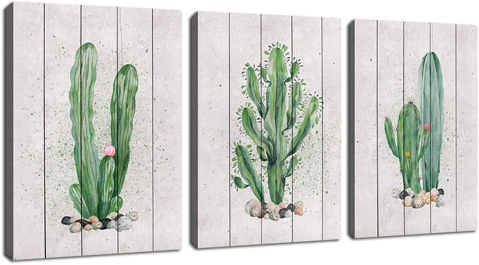 """Green Wall Art Cactus Canvas Pictures Succulent Plant Painting 3 Piece Simple Life Canvas Art Prints Contemporary Artwork for Bathroom Kitchen Office Wall Decor Home Decoration 12""""x 16"""" x 3 Panels"""