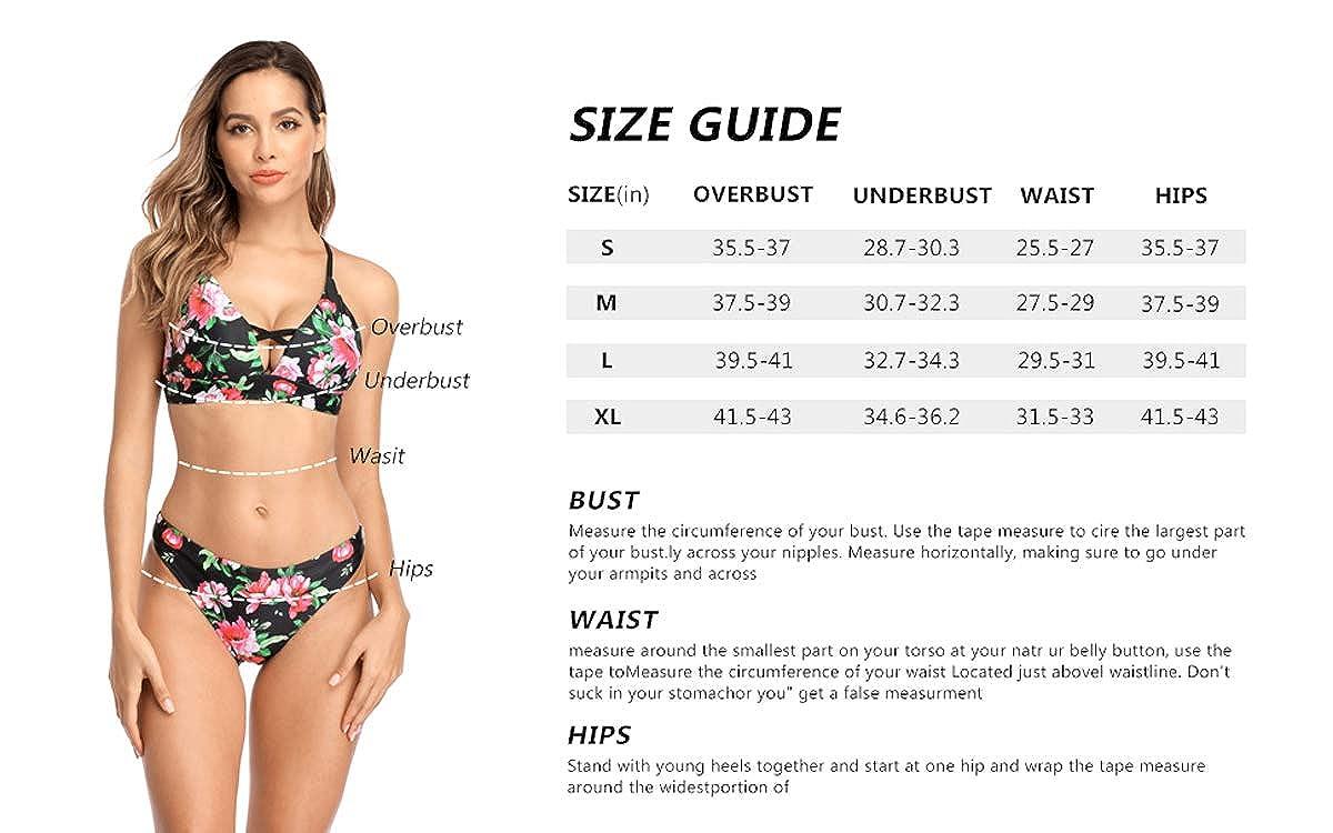 ALove Lace-up Bikini Swimsuit for Women Floral Bikini Set with Reversible Bottom