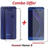 RidivishN (COMBO OFFER) for Huawei Honor 8 Transparent Back Cover + Premium Tempered Glass Screen Protector (Transparent)
