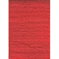 Bella Shaggy Collection 4 Feet X 6 Feet High Soft Pile Rug Thick Plush Fluffy Furry Bedroom Living Room Shag Floor Rug (Red)
