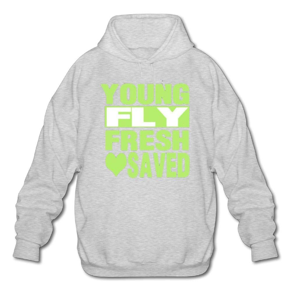 Mens Long Sleeve Cotton Hoodie Young Fly Fresh Saved Sweatshirt