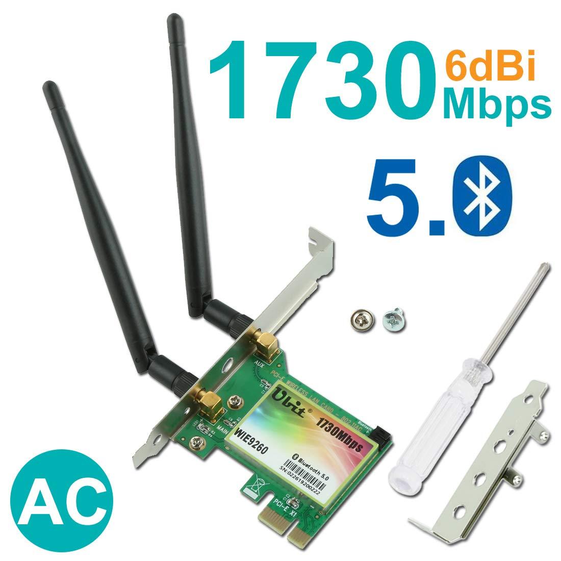Gigabit WiFi Card, Wireless-AC 9260 Bluetooth 5.0 Card, Ubit 802.11AC 1730Mbps PCIe Wireless Wifi PCIe Card, Dual-band 5GHz/2.4GHz Wireless Network Card, 6dBi Antenna PCIe WiFi Network Card by Ubit