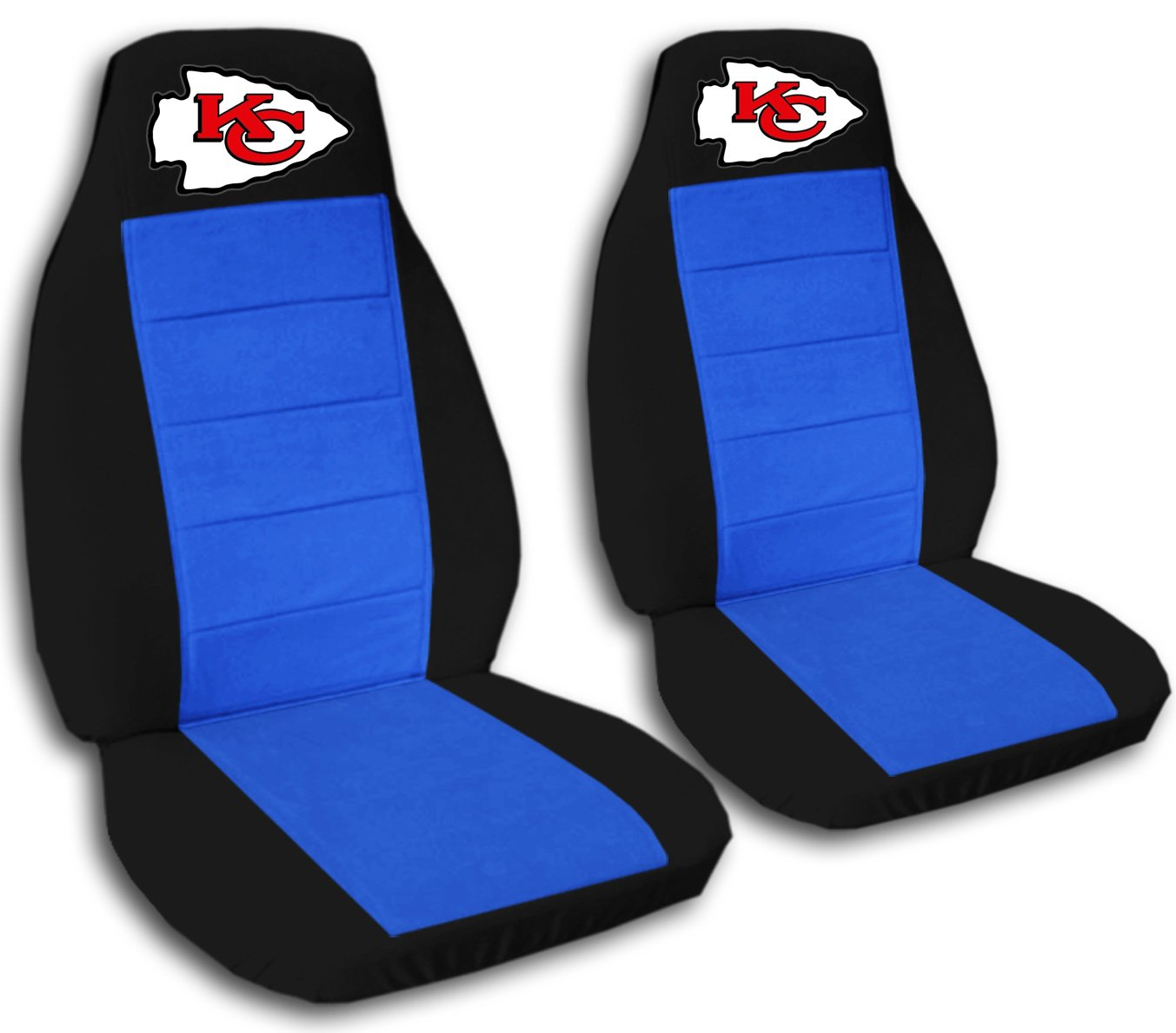 2 Black and Medium Blue Kansas City seat covers for a 2011 to 2012 Jeep Grand Cherokee. Side airbag friendly