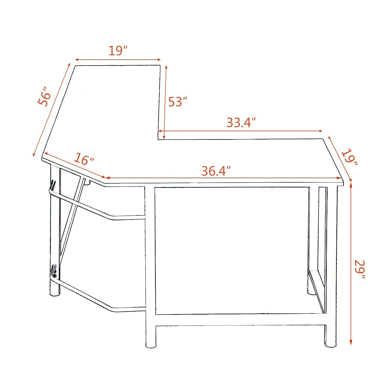 Kinbor Modern L-Shape Corner Office Computer Desk PC Laptop Table Workstation Study Table Home Furniture Black by Kinbor (Image #5)
