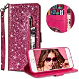 """Luxury Glitter Bling Zipper Wallet Phone Case for iPhone 6/iPhone 6s 4.7"""", MOIKY Bookstyle PU Leather Flip Folio Magnetic Purse Pockets Credit Card Holder Wrist Strap Case Cover for iPhone 6/iPhone 6s 4.7"""" - Rose Red"""