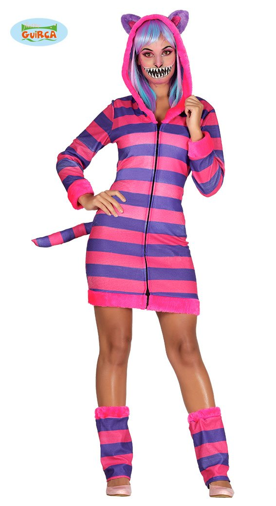 Womens Cheshire Striped Cat Costume World Book Day Fancy Dress ...
