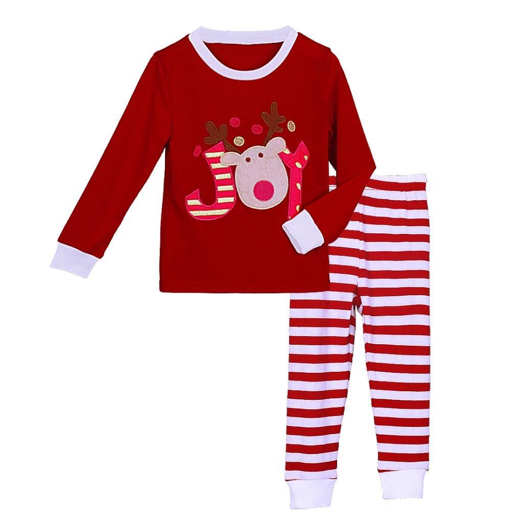 Pettigirl Girls 2 Piece Clothing Set Joy Reindeer Striped Pajamas 2-7 Y CS41111-06-CA