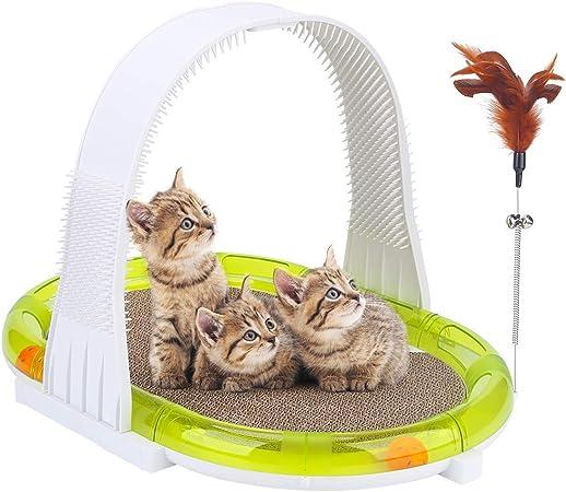 Juguete Scratcher para gatos, almohadilla cartón para mascotas, juguetes interactivos para gatos, pista para juguetes de bolas de gato con cepillo para el arco de aseo, juguete para gatito de plumas: Amazon.es: