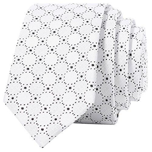 Mens Silk Skinny White Tie in Mirage Geometric Pattern,100% Chinese Silk Tie,  White (Novelty Mens Tie)