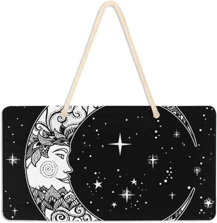 SLHFPX Open Door Welcome Sign Moon Face Star Personalized Rectangle Wall Hanging Plaque Message Sign Porch Decoration Outdoor Indoor Board Decor for Home Office Meetings Use