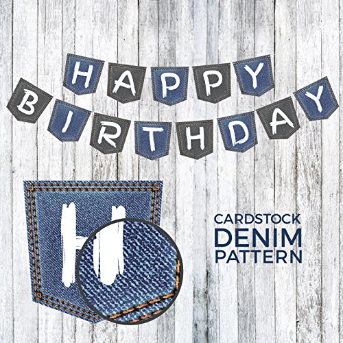 Happy Birthday Banner Denim Pocket Design | Birthday Decorations | Happy Birthday Decorations | Blue Party Decorations | Happy Birthday Banner Blue | Denim Party Decorations