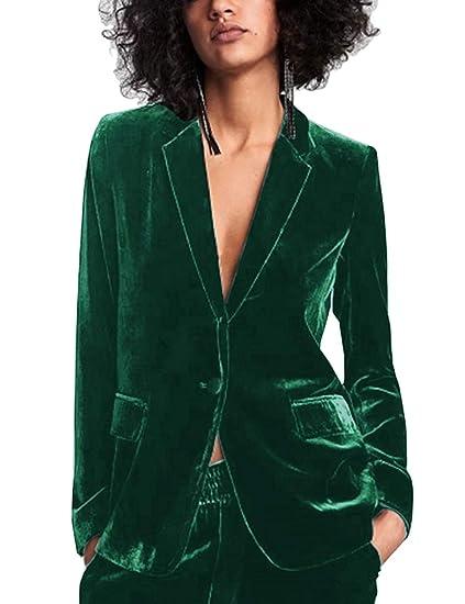 Uranus Femme Veste de Tailleur Velours Un Bouton Dames Blazer Slim Fit  Décontractés Col Revers Extensible 684b85794da3