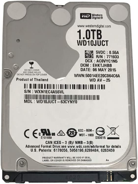 Western Digital 1TB 5400RPM 16MB Cache (9.5mm) SATA 3.0Gb/s 2.5inch Notebook Hard Drive (WD10JUCT) - 3 Year Warranty