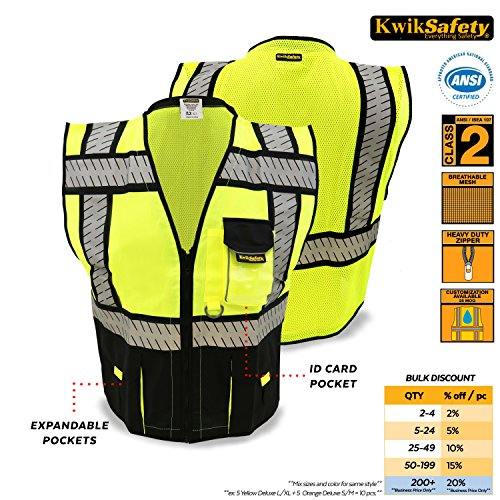 KwikSafety Class 2 Black Fishbone Safety Vest | Hi Vis Mesh Heavy Duty Zipper & Expandable Multiple Pockets | Men...
