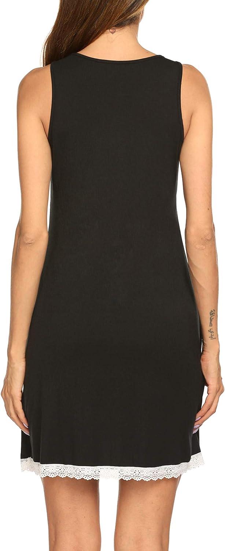 Ekouaer Nightgowns Womens Modal Night Shirts Sleeveless Tank Sleep Dress with Lace Trim S-XXL