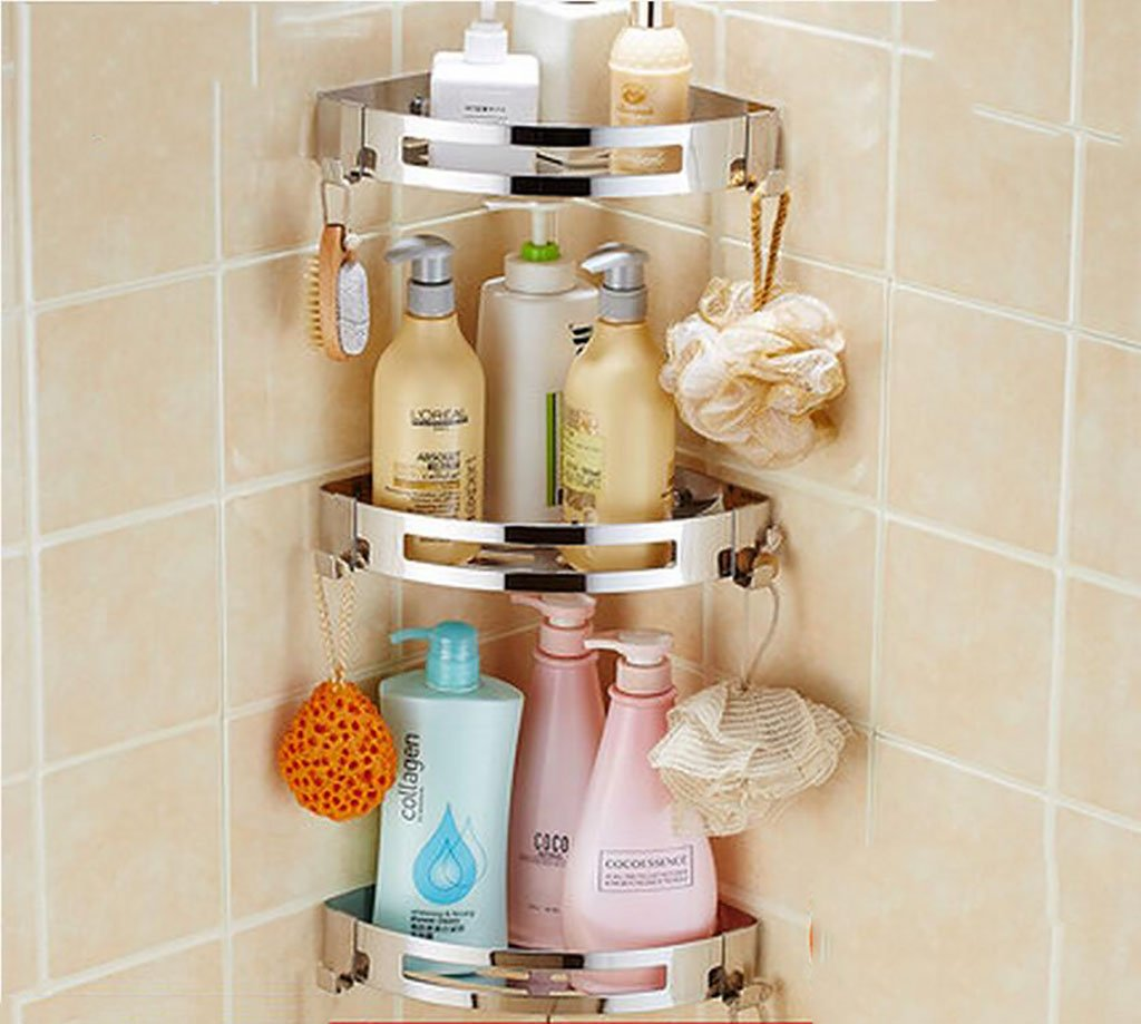 B Bathroom Shelves, Bathroom Toilet Rack Hanging Wall, 304 Stainless Steel Free Drilling Triangular Bathroom Frame (color   B)