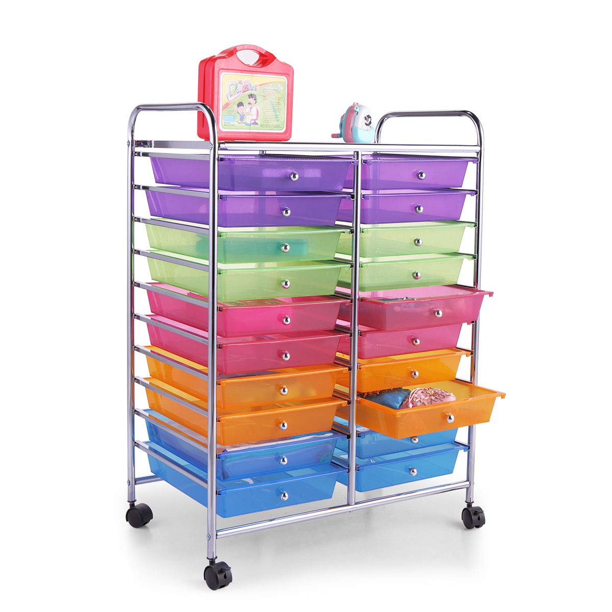 LAZYMOON Rolling Storage Cart Utility Organizer Plastic Drawer Cabinet with 20 Semi-Transparent Drawers by LAZYMOON