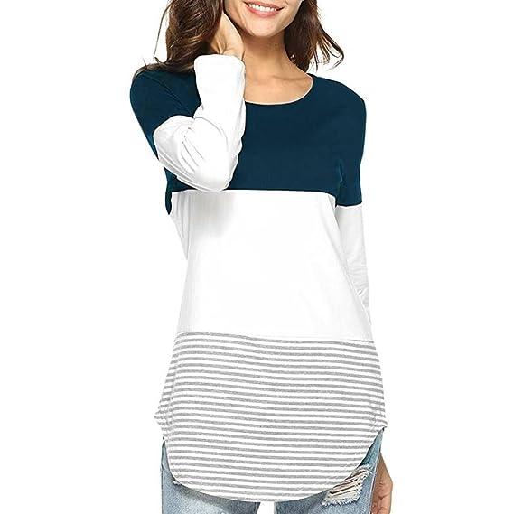 Manga Larga Casual Mujer Blusa de Patchwork a Rayas Top elásticos Camiseta Blusa ❤ Manadlian
