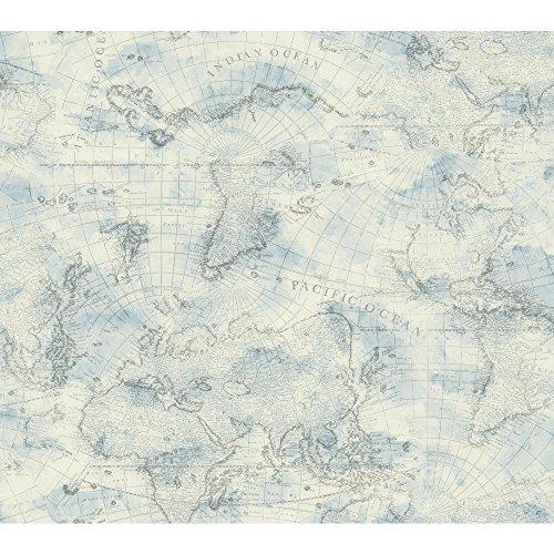 YORK NY4834 Nautical Living Coastal Map Wallpaper, Cream/...