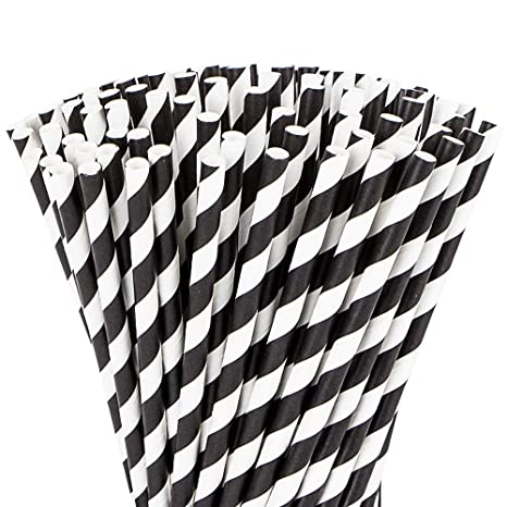 Webake Paper Straws Biodegradable Bulk 144 Black and White Striped Drinking  Straws, Great Alternative Disposable Straws to Plastic Straws Eco Friendly