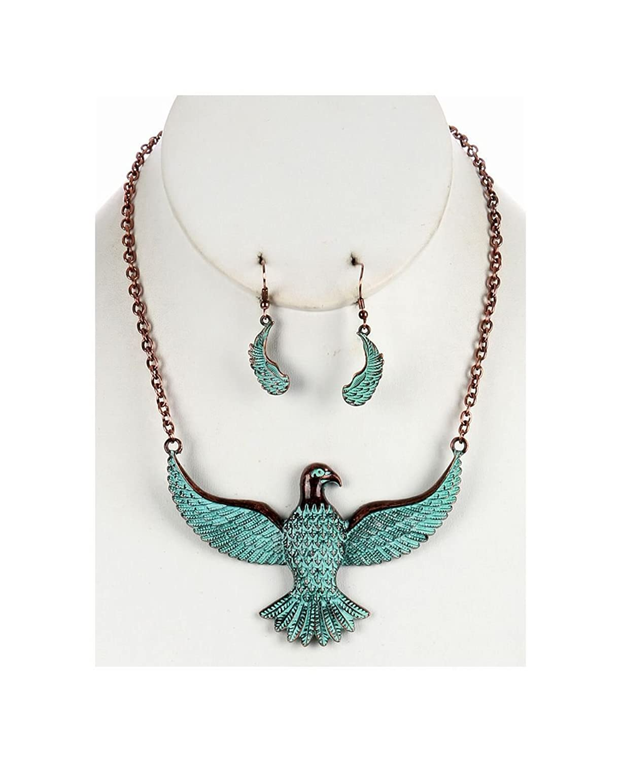 Aged Finish Metal Necklace And Earring Set Thunderbird Bib With Textured