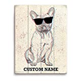 picture sun shade - Cute French Bulldog Frenchie with Sunshades Distressed Customizable Wall Art Print
