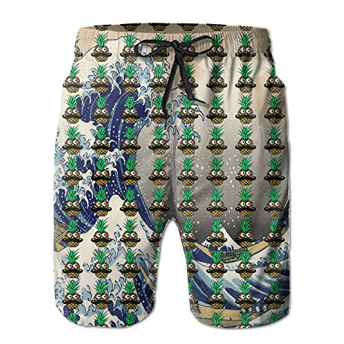 Funny Tropical Pineapple With Googly Eyes Mustache Men's Quick Dry Swimming Trunks Casual Beach Surfing Board Shorts M