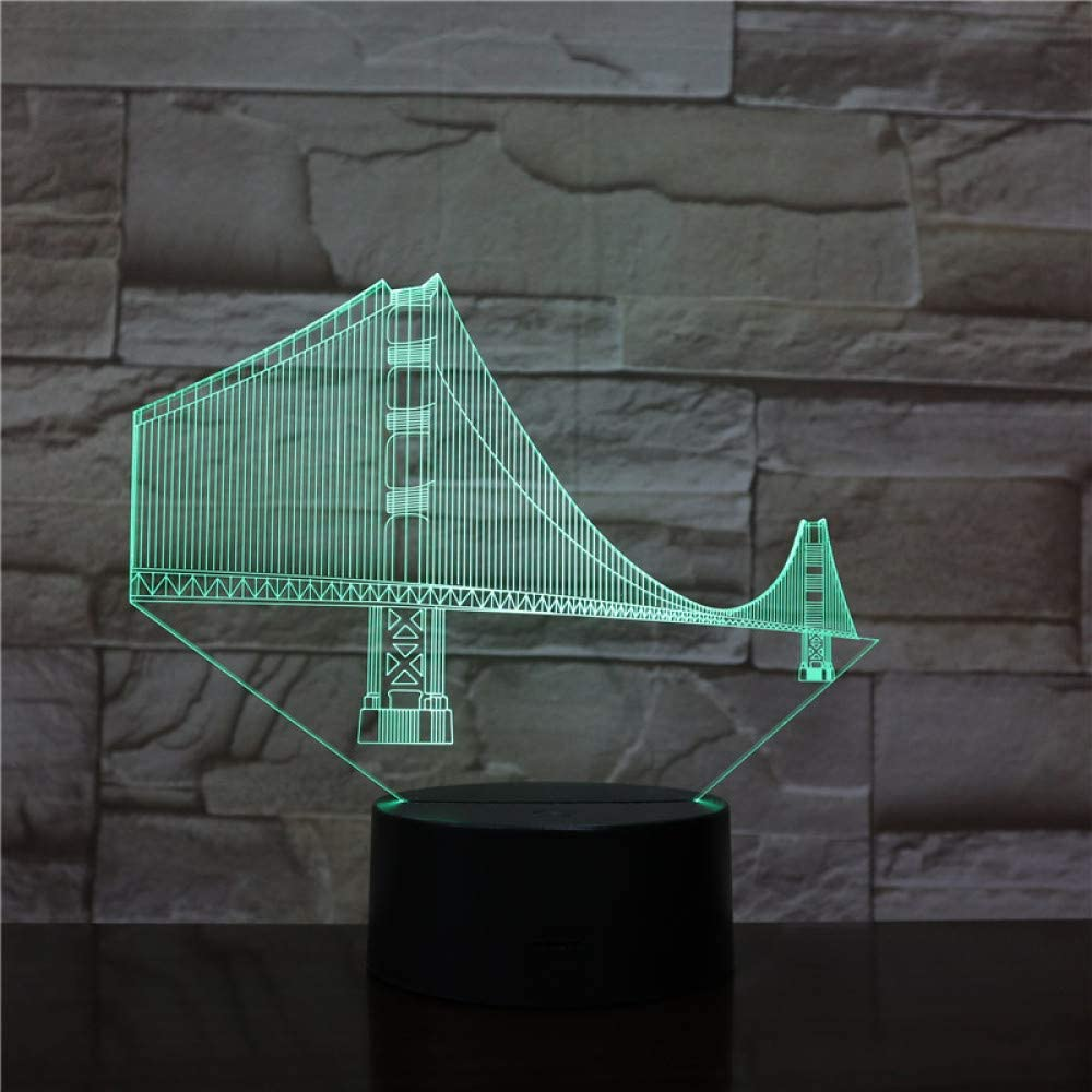 BFMBCHDJ Golden Gate Bridge Art Decoration 3D Lámpara Efecto de ...