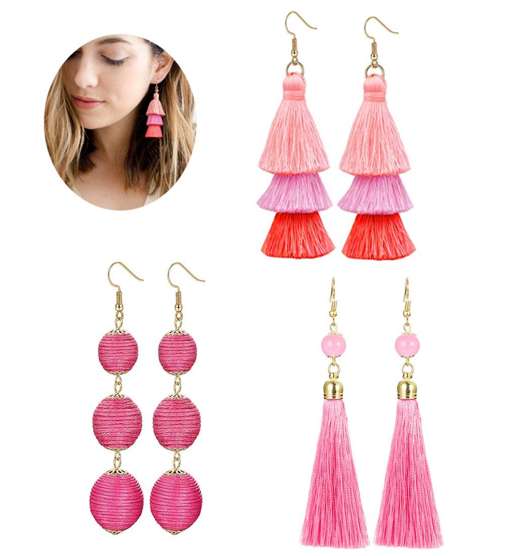LOLIAS 3 Pairs Long Thread Tassel Earrings Set for Women Girls Beaded Fringe Tassel Earrings Gradient