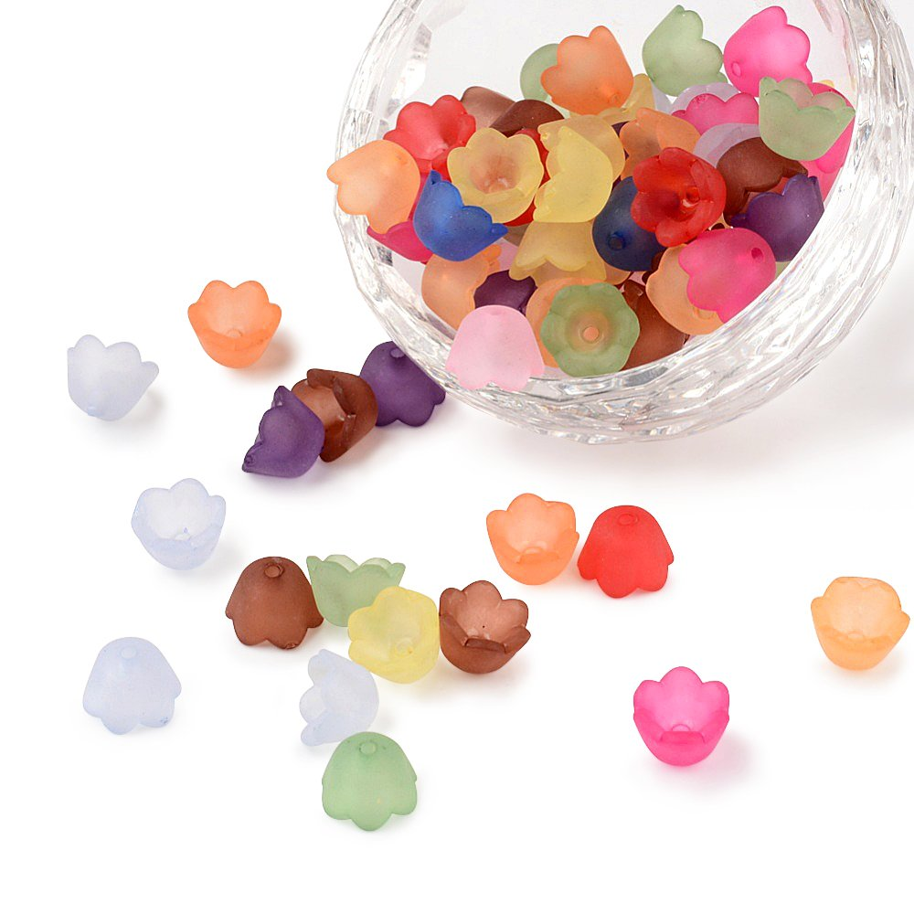 jewellery making supplies Jewellery Making Beads 100pcs Mixed Colour Acrylic Transparent Frosted Flower Bead Caps Crafts 12x4.5mm