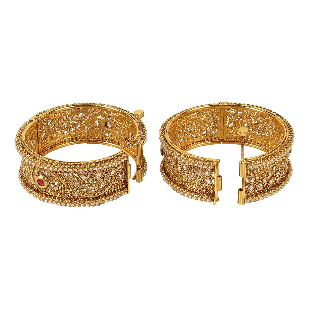 MUCH-MORE Exclusive American Bollywood Fashion Gold Plated Tone Indian Polki Traditional Bangles//Bracelets Jewelry for Women