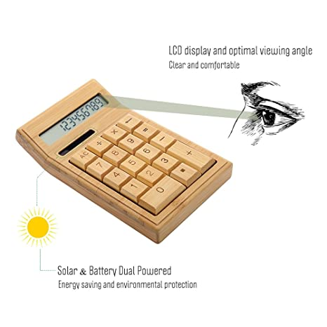 Walmeck Eco-Friendly Bamboo Electronic Calculator: Amazon in
