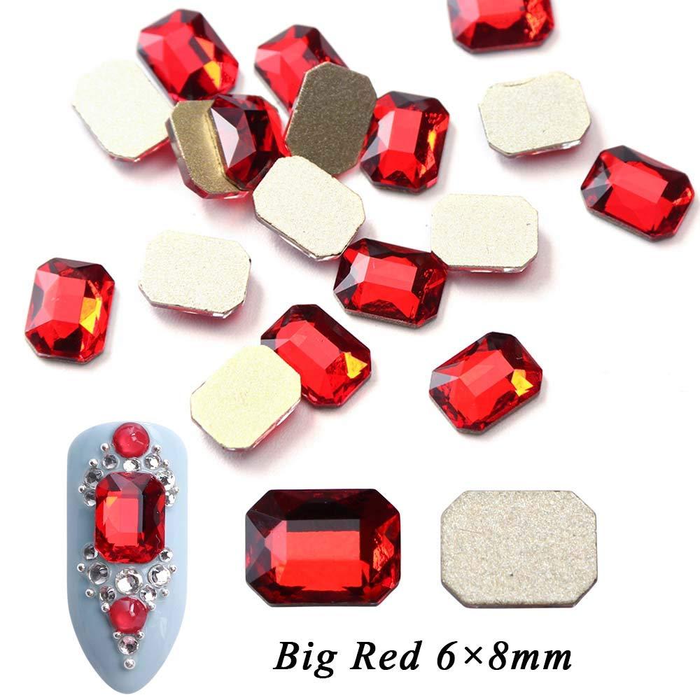 Flat Back Nail Crystal Rhinestones AB Rectangle Design Decoration 3D Gem Charm Manicure Jewelry Stone Big Red by NIORNCIEX