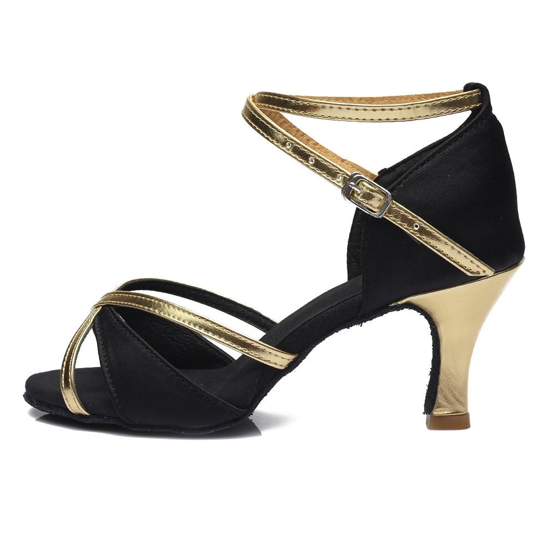 HROYL Zapatos de baile Zapatos latinos de satén mujeres ES