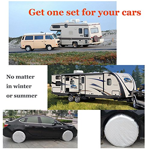 HEALiNK Tire Covers Set of 4 for RV Wheel Waterproof Oxford Tires Protector Covers for Motorhome Truck Trailer Camper Auto (27'' for Tire Diameter 68cm, Tire Width 25cm) by HEALiNK (Image #6)