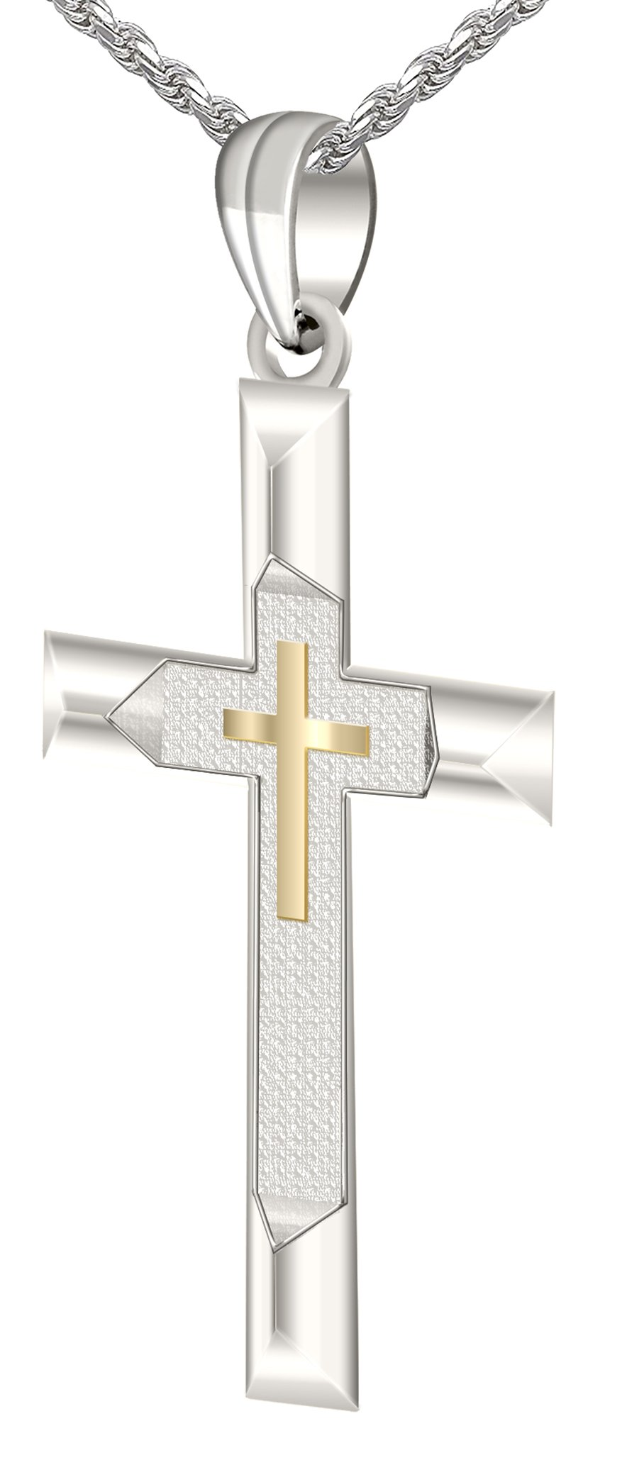 1.25'' Solid 0.925 Sterling Silver and 14k Gold Cross High Polished Pendant 3.3mm Rope Necklace, 24''