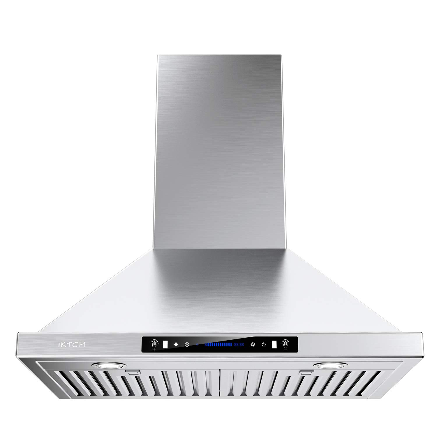 IKTCH Wall Mount Range Hood 30 inch Gesture Sensing & Touch Control Switch Panel Kitchen Vent Hood 900 CFM | Ducted/Ductless Convertible Duct, 2 Pcs Lights Adjustable (Stainless Steel 30'')