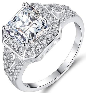 TEMEGO 14k White Gold Large Square Princess Cut Cubic Zirconia Cluster CZ  Halo Wedding Engagement Ring 5eba56a90e