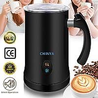 Milchaufschäumer, CHINYA Elektrischer Milchaufschäumer mit Heiß- oder Kaltfunktion, Antihaftbeschichtung, Automatischer Edelstahl Milchaufschäumer für Kaffee, Cappuccino und Macchiato,FDA(Schwarz)