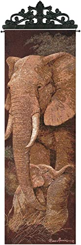 Manual Weavers Protective Mother Elephant with Baby Cotton Tapestry Wall Hanging 36.5 x 13