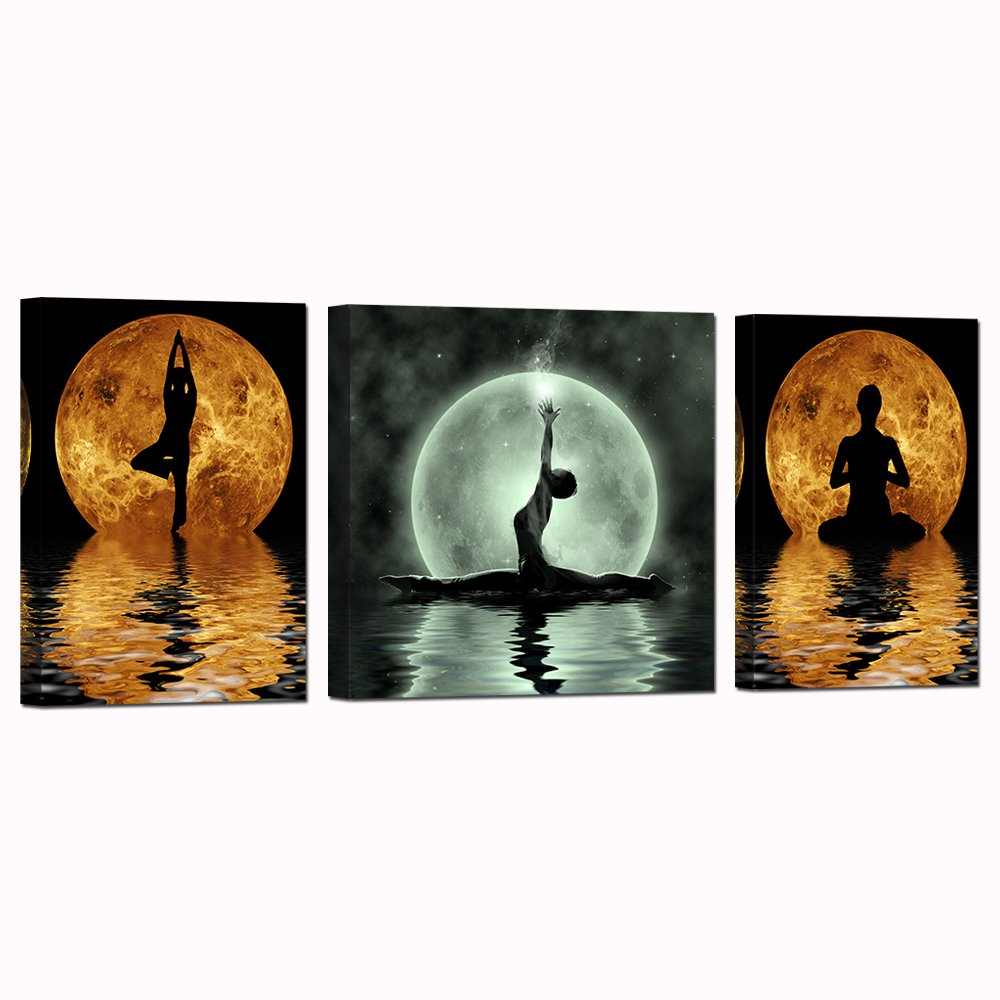 3 Pieces Abstract Seaside Painting Girl Do Yoga On The Beach in the Full Moon Night Sports Picture Printed on Canvas Wall Art For Home Decoration Stretched and Framed for Yoga Room 16''x24''x2+24''x24''x1