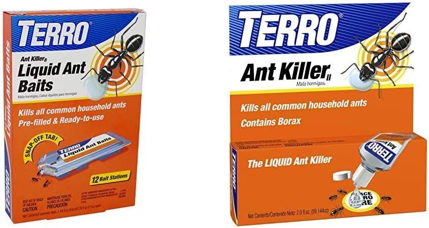 Terro T300B Liquid Ant Bait Ant Killer, 12 Bait Stations & 2 Oz Liquid Ant Killer ll T200