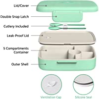 Lunch Box for Kids and Adults Wheat Straw Food Storage - 5 Compartments, Leak Proof, Microwave and Dishwasher Safe, BPA-Free, Lunch Container with Spoon and Fork (Aqua)