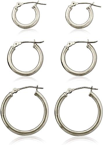 Pair Stainless Steel Brush Hoop Earrings Gold Silver 3mm
