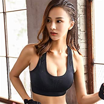 5178a8d141 Sports Bras - Padded Seamless High Impact Support for Yoga Gym Workout  Fitness at Amazon Women s Clothing store