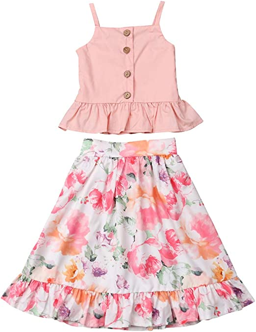 2Pcs Toddler Baby Girl Floral Dress Clothes Ruffle Tops Skirt Summer Outfits Set